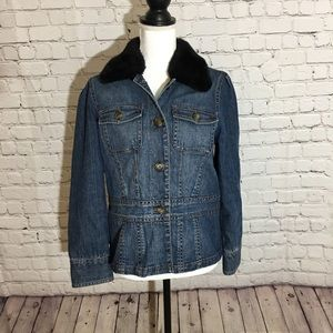 Liz Claiborne Denim Jacket removable fur collar